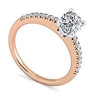 14k White And Rose Gold Oval Straight Engagement Ring angle 3