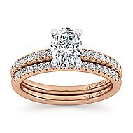 14k White And Rose Gold Oval Straight Engagement Ring angle 4