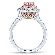 14k White And Rose Gold Pear Shape Double Halo Engagement Ring angle 2