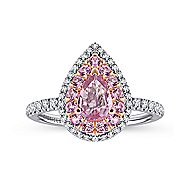 14k White And Rose Gold Pear Shape Double Halo Engagement Ring angle 5