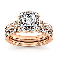 14k White And Rose Gold Princess Cut Halo Engagement Ring angle 4