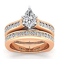 14k White And Rose Gold Princess Cut Straight Engagement Ring angle 4