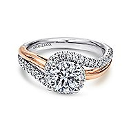 14k White And Rose Gold Round Bypass Engagement Ring angle 1