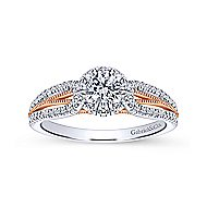 14k White And Rose Gold Round Halo Engagement Ring angle 5