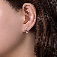 14k White Gold 10mm Stacked Triangle Diamond Huggie Earrings