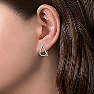 14k White Gold 15mm Inverted V Diamond Huggie Earrings