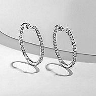 14k White Gold 20MM Inside Out Scalloped Diamond Hoop Earrings