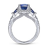 14k White Gold A Quality Sapphire Oval Halo Engagement Ring ~ Abbott