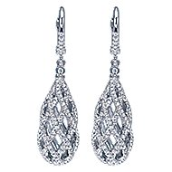 14k White Gold Allure Drop Earrings angle 1