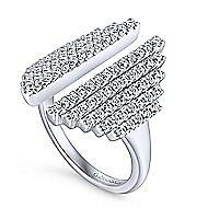 14k White Gold Art Deco Fashion Ladies' Ring angle 3