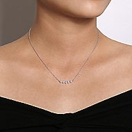 14k White Gold Art Moderne Bar Necklace