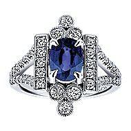 14k White Gold Art Moderne Classic Ladies Ring