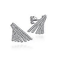 14k White Gold Art Moderne Drop Earrings