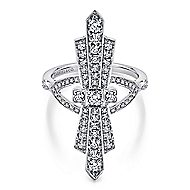 14k White Gold Art Moderne Fashion Ladies' Ring angle 1