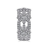 14k White Gold Art Moderne Fashion Ladies Ring