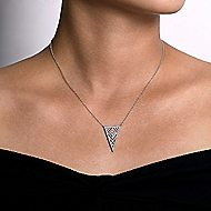14k White Gold Art Moderne Fashion Necklace