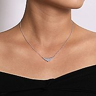 14k White Gold Art Moderne Triangle Fashion Necklace