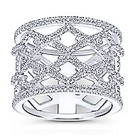 14k White Gold Art Moderne Wide Band Ladies Ring