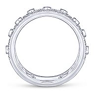 14k White Gold Art Moderne Wide Band Ladies' Ring angle 2