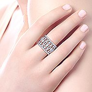 14k White Gold Art Moderne Wide Band Ladies' Ring angle 5