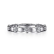 14k White Gold Brushed Round Diamond Stackable Ring