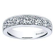 14k White Gold Channel Set Princess Cut 7 Stone Diamond Anniversary Band angle 5