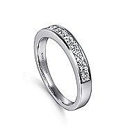 14k White Gold Channel Set Princess Cut 9 Stone Diamond Anniversary Band angle 3