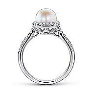 14k White Gold Classic Cultured Pearl Diamond Halo Ladies Fashion Ring