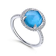 14k White Gold Classic Rock Crystal, White Mother of Pearl & Turquoise Ladies Ring