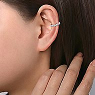 14k White Gold Comets Earcuffs Earrings angle 3