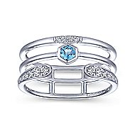 14k White Gold Constellations Fashion Ladies' Ring angle 4