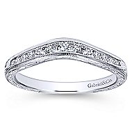 14k White Gold Contemporary Curved Anniversary Band angle 5