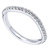 14k White Gold Contemporary Curved Wedding Band angle 3