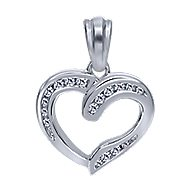 14k White Gold Contemporary Heart Heart Pendant angle 1