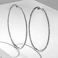 14k White Gold Contemporary Inside Out Diamond Hoop Earrings