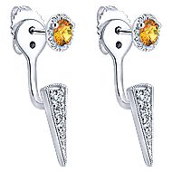 14k White Gold Contemporary Peek A Boo Earrings