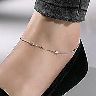 14k White Gold Contemporary Station Ankle Bracelet