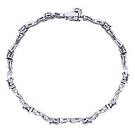 14k White Gold Contemporary Tennis Bracelet angle 1