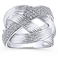 14k White Gold Contemporary Twisted Ladies Ring