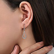 14k White Gold Contoured Pear Shaped Diamond Drop Earrings