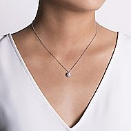 14k White Gold Cultured Pearl Diamond Halo Fashion Necklace
