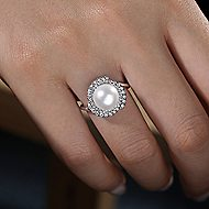 14k White Gold Cultured Pearl Swirling Diamond Halo Ladies Fashion Ring