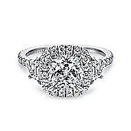 14k White Gold Cushion Cut 3 Stone Halo Engagement Ring