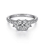 14k White Gold Cushion Cut 3 Stones Engagement Ring angle 1