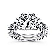 14k White Gold Cushion Cut 3 Stones Engagement Ring angle 4