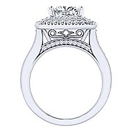 14k White Gold Cushion Cut Double Halo Engagement Ring angle 2