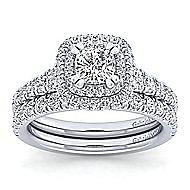 14k White Gold Cushion Cut Double Halo Engagement Ring angle 4