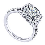 14k White Gold Cushion Cut Perfect Match Engagement Ring angle 3
