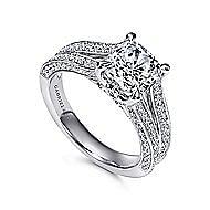 14k White Gold Cushion Cut Split Shank Engagement Ring angle 3