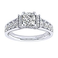 14k White Gold Cushion Cut Straight Engagement Ring angle 5